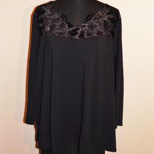 2X Petite Catherines Black Velvet Stretch Top EUC